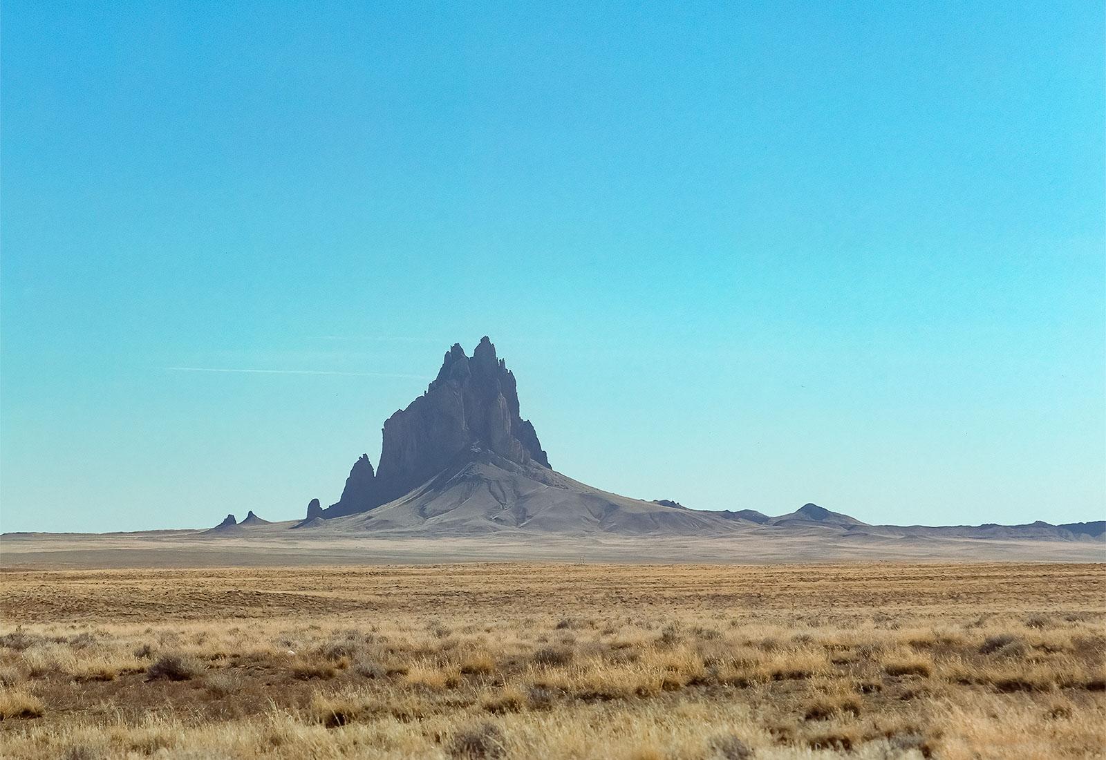 Ship Rock, a monadnock rising 1,583 feet in Navajo Nation, New Mexico