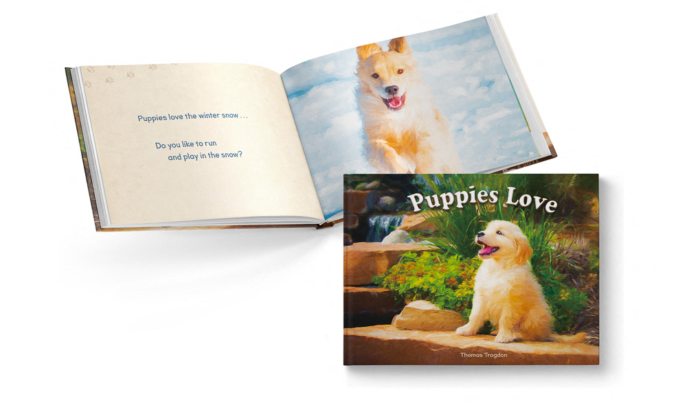 Puppies Love Children's Book featuring Trog's Dogs Open Pages and Cover