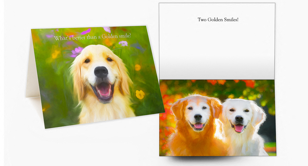 Trog's Dogs Golden Smiles Greeting Card
